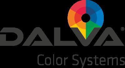 Logo con el título Dalva Color Systems con un círculo cromático de colores sobre la V de Dalva