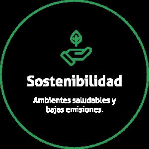 Aro de color verde sobre fondo transparente con un icono de una mano con una hoja verdes y un título que dice Sostenibilidad
