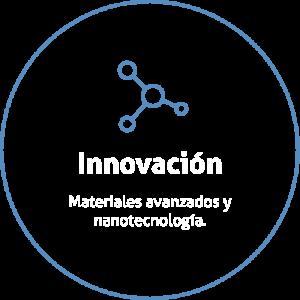 Aro de color azul sobre fondo transparente con un icono de un átomo y un título que dice Innovación