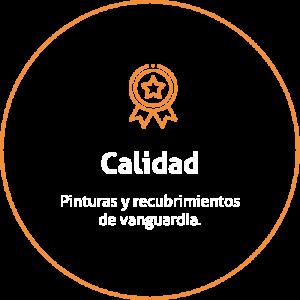 Aro de color naranja sobre fondo transparente con un icono de una medalla y un título que dice Calidad