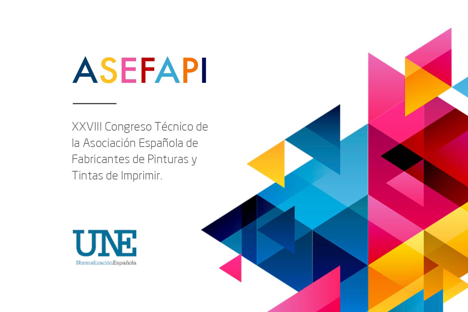Imagen con muchos colores con un título que dice Asefapi, vigesimoctavo congreso técnico de la asociación española de fabricantes de pintura y tintas de imprimir y el logo de la UNE Normalización Española