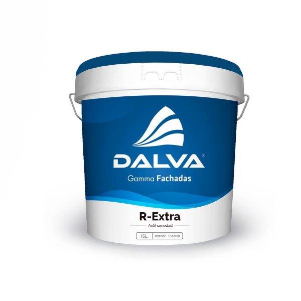 Latón de pintura con etiqueta azul de la Gamma Fachadas de 15 litros de tipo R-Extra Antihumedad para interior y exterior.