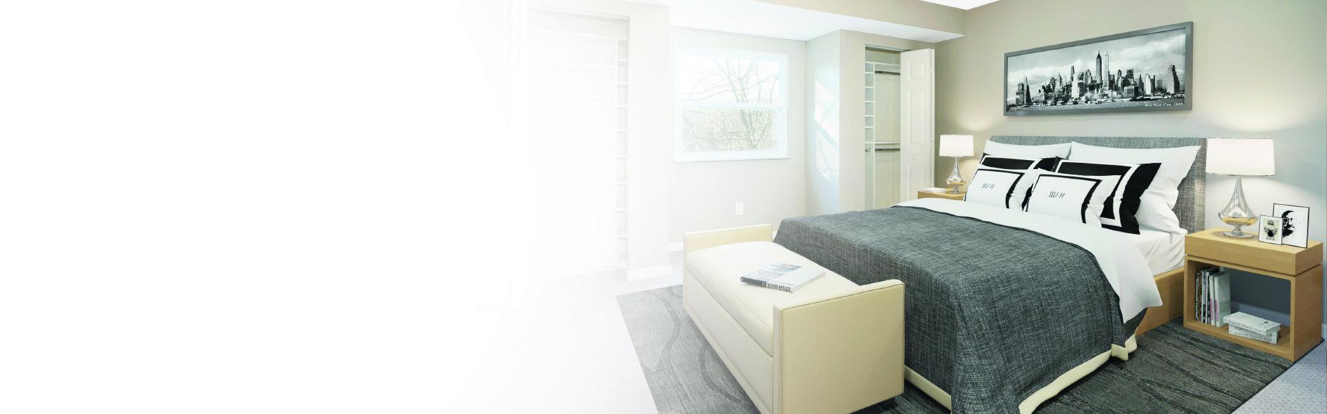 Foto de un dormitorio pintado de gris