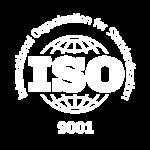 Logo blanco sobre normativa ISO 9001